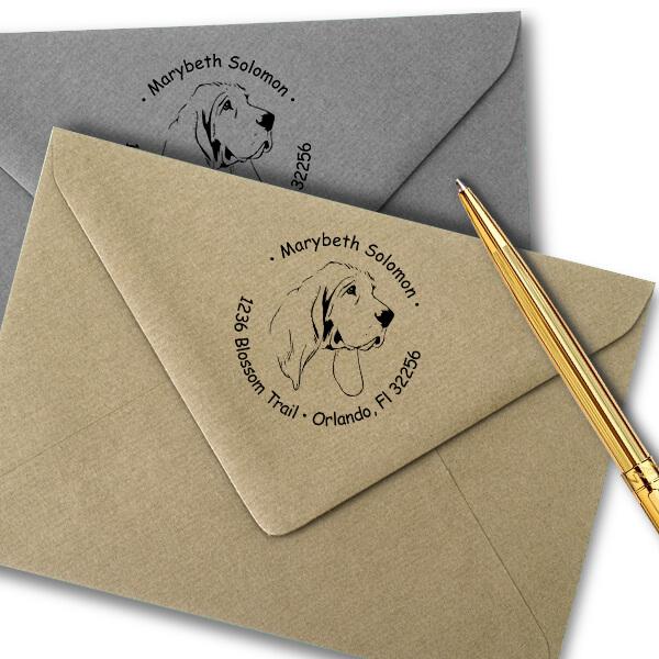 Bloodhound Dog Return Address Stamp Imprint Example