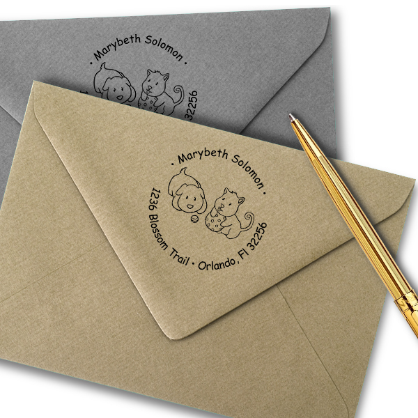 Puppies Playing Return Address Stamp Imprint Example