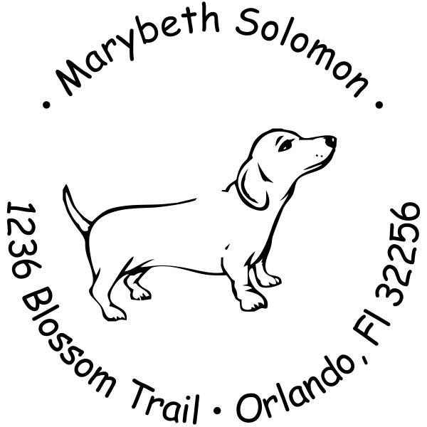 Weiner Dog return address rubber stamp design