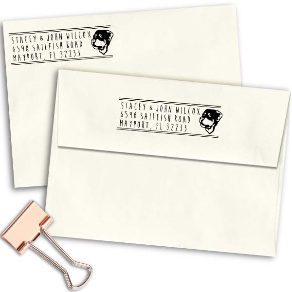 Rottweiler Dog Address Stamp Imprint Example