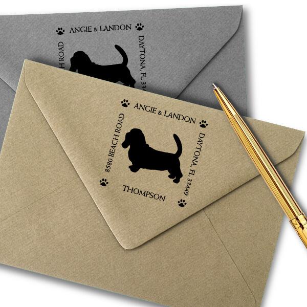 Basset Hound Pet Lover Dog Return Address Stamp Imprint Example