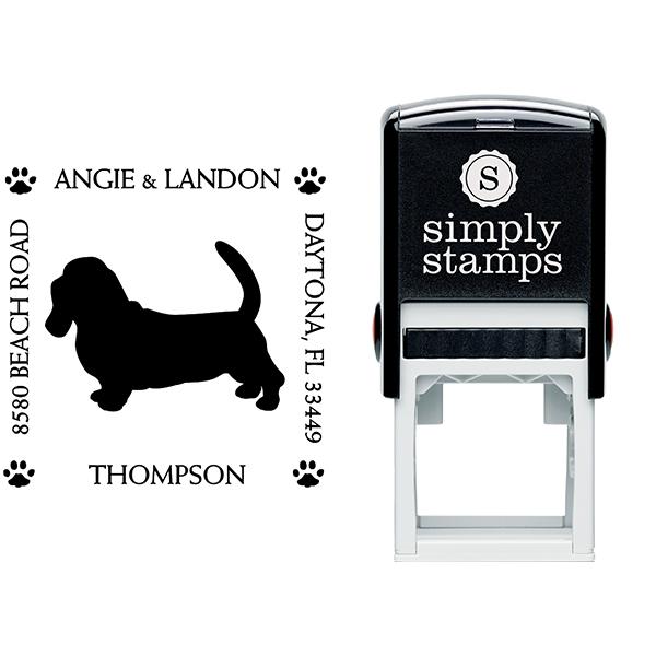 Basset Hound Pet Lover Dog Return Address Stamp Body and Design