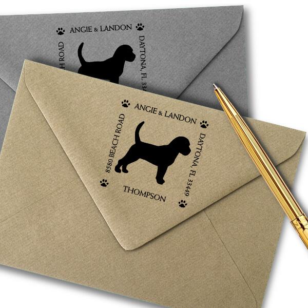 Beagle Pet Lover Dog Return Address Stamp Imprint Example