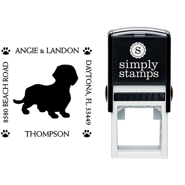 Dachshund Pet Lover Return Address Stamp Body and Design