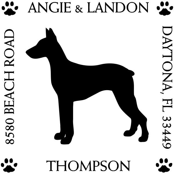 Doberman Pinscher Pet Lover Dog Return Address Stamp