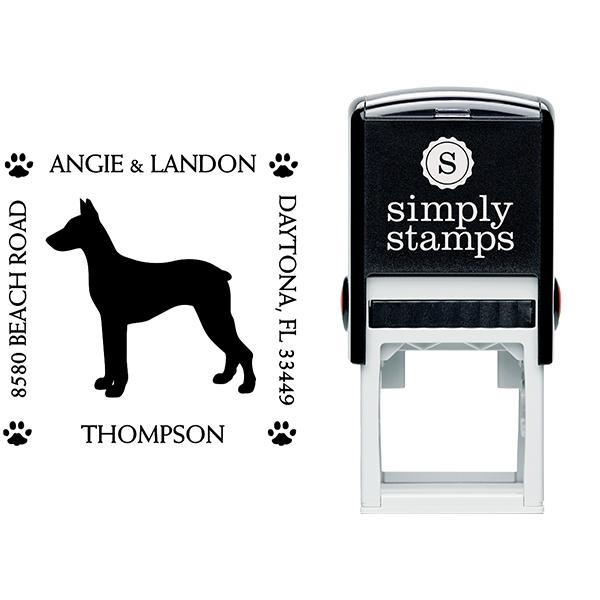 Doberman Pinscher Pet Lover Dog Return Address Stamp Body and Design