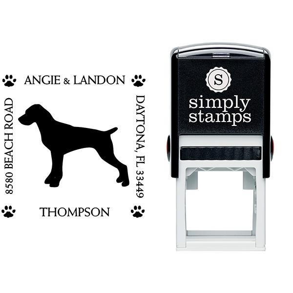 Pointer Pet Lover Dog Return Address Stamp Body and Design