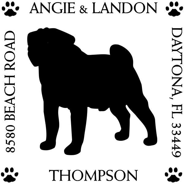 Pug Pet Lover Dog Return Address Stamp