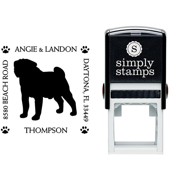 Pug Pet Lover Dog Return Address Stamp Body and Design