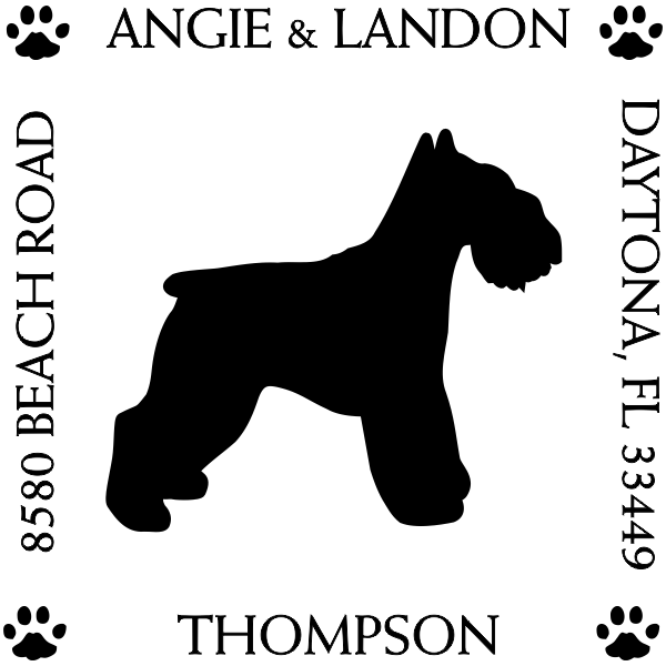 Schnauzer Pet Lover Dog Return Address Stamp