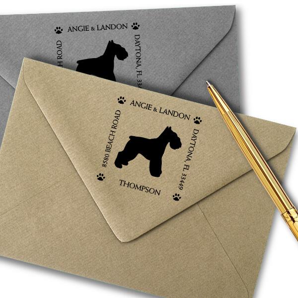 Schnauzer Pet Lover Dog Return Address Stamp Imprint Example
