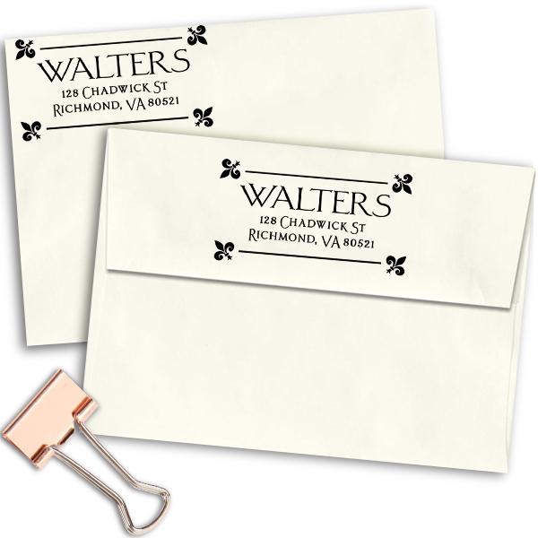 Fleur Corners Return Address Stamp Imprint Example