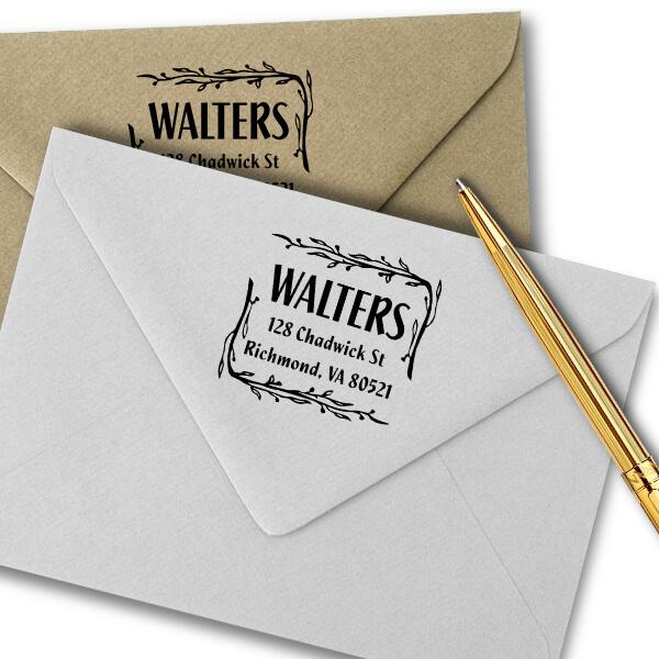 Branch Border Square Address Stamp Imprint Example