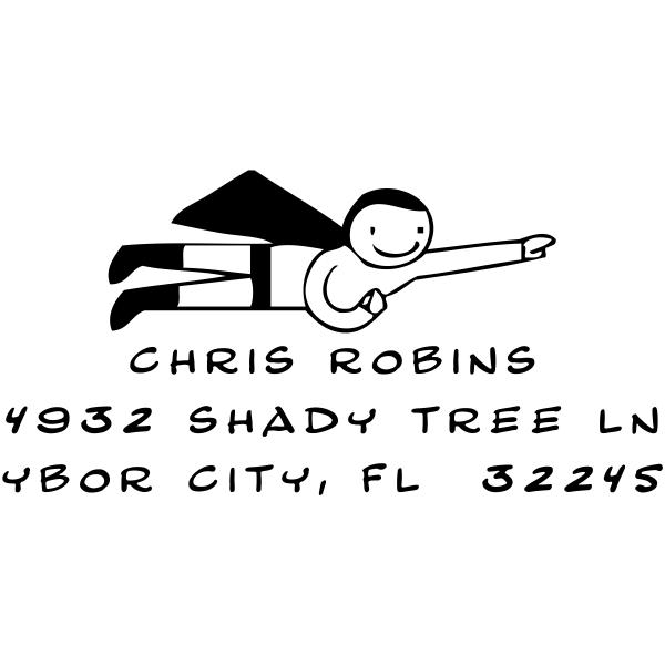 Self Inking Super Hero Address Stamp