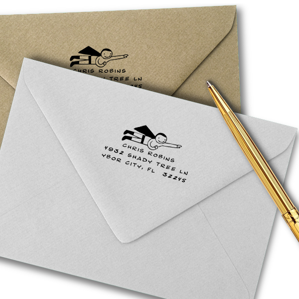 Cartoon Superhero Custom Return Address Stamp Imprint Example