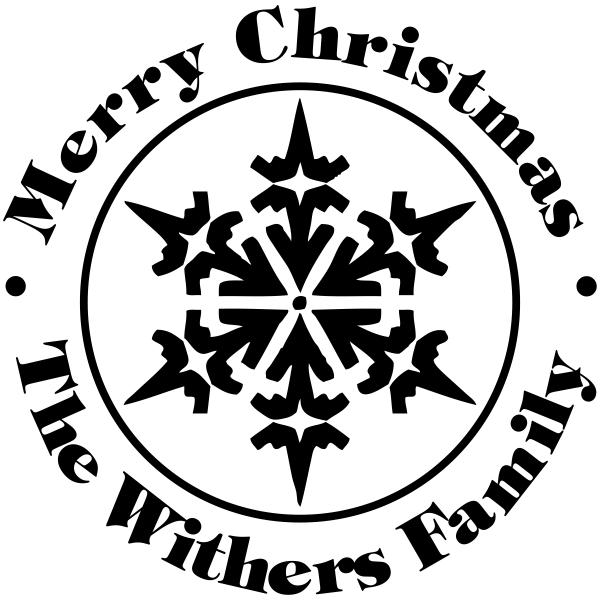 Custom Merry Christmas Snowflake Rubber Stamp
