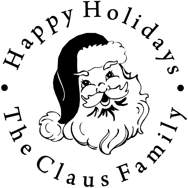 Happy Holidays Classic Santa Rubber Stamp