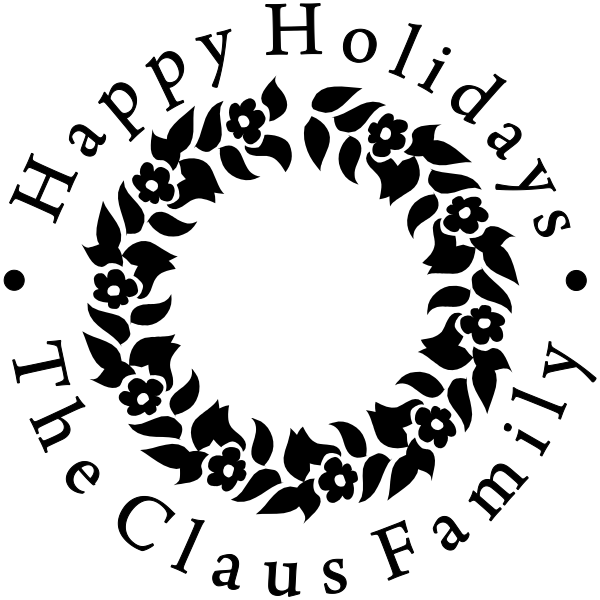 Happy Holidays Floral Wreath Rubber Stamp