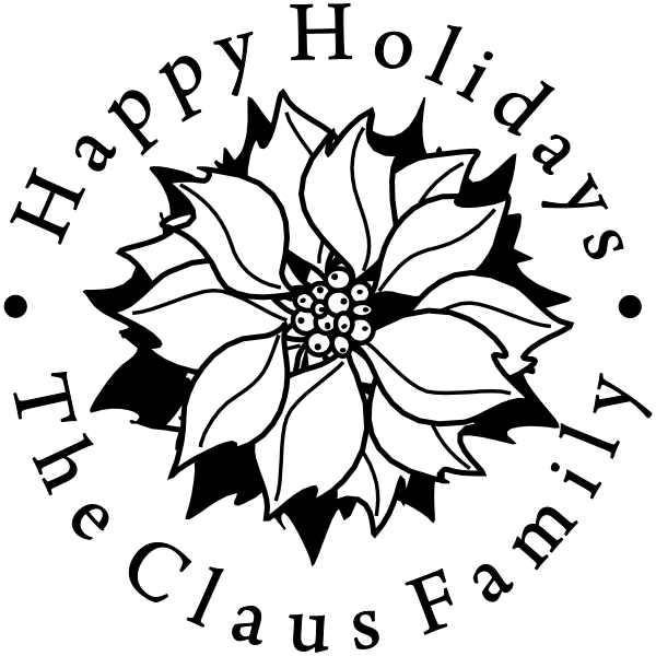 Happy Holidays Poinsettia Flower Rubber Stamp