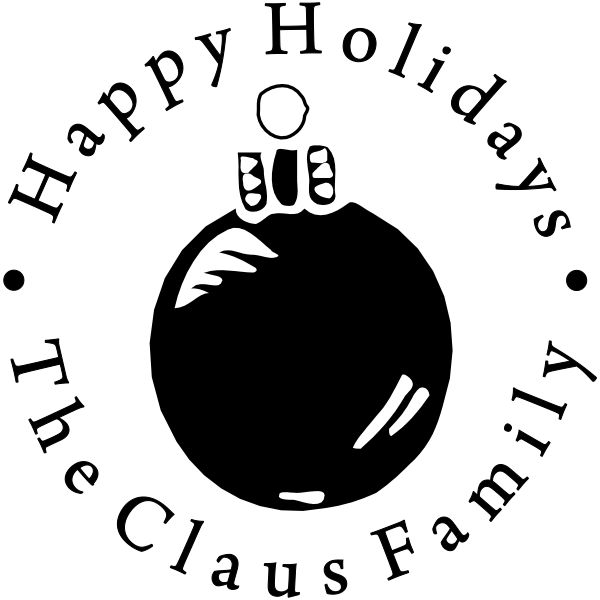 Happy Holidays Round Ornament Rubber Stamp