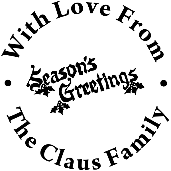 Happy Holidays Season's Greetings Rubber Stamp
