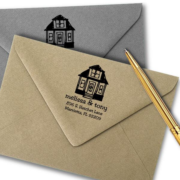 Little House Return Address Stamp Imprint Example