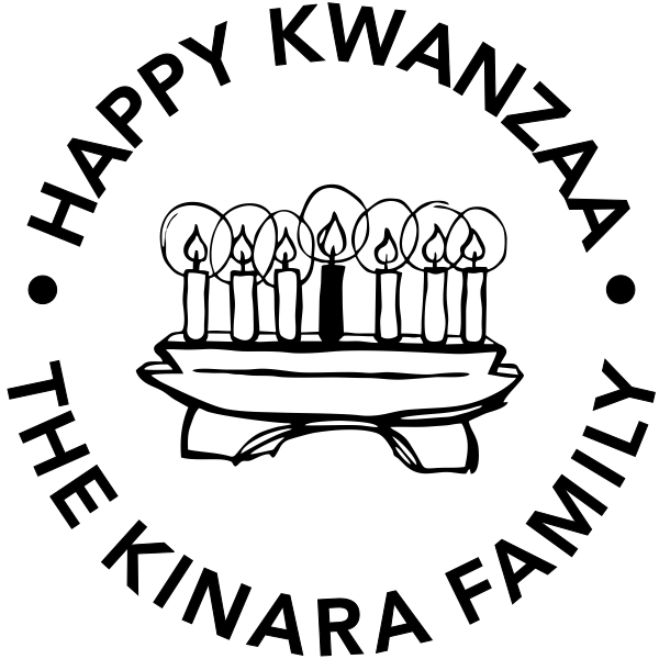 Happy Kwanzaa Candles Holiday Rubber Stamp