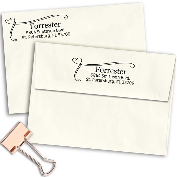 Forrester Heart Border Address Stamp Imprint Examples on Envelopes