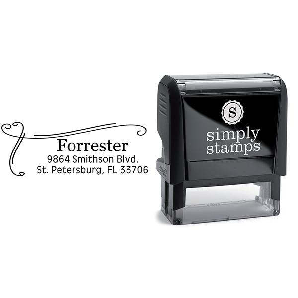 Forrester Heart Border Address Stamp Body and Imprint
