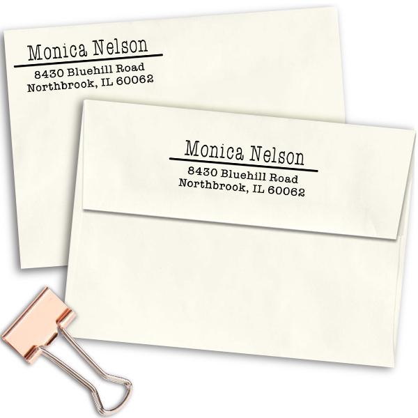 Nelson 3 Line Separator Address Stamp Imprint Example