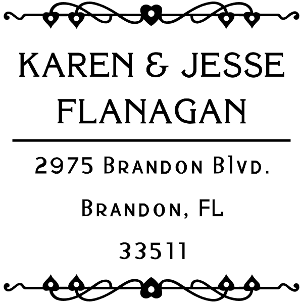 Flanagan Heart Deco Custom Address Stamper