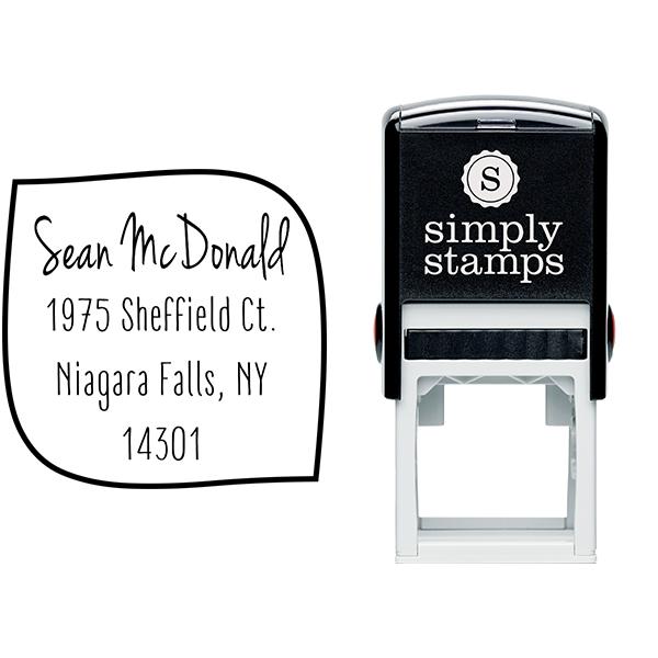McDonald 4 Line Border Address Stamp Body and Imprint