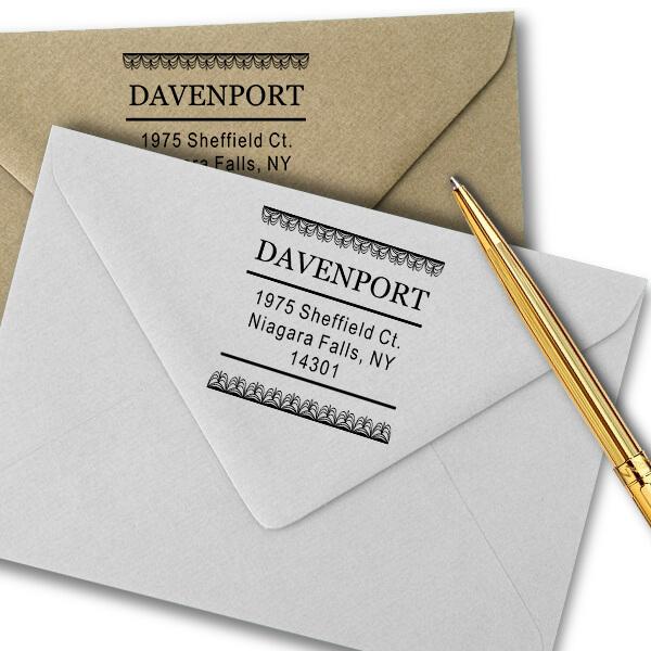 Davenport Deco Curtain Address Stamp Imprint Example