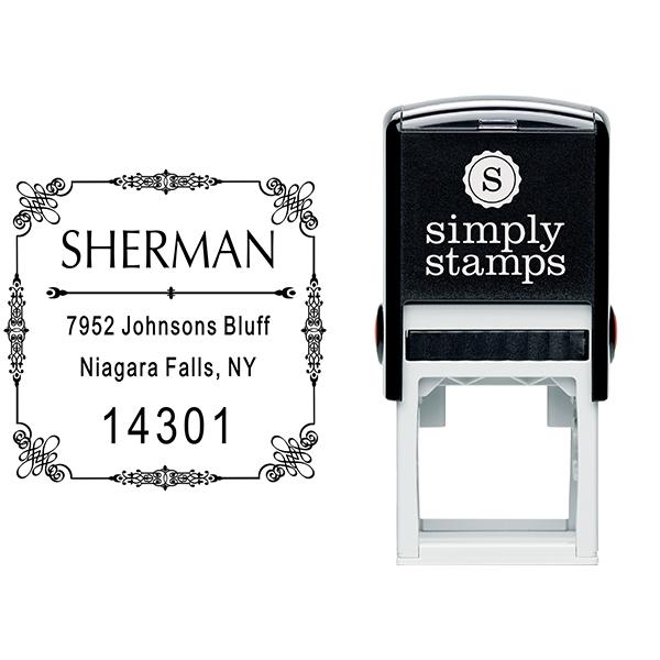 Vintage Deco Border Return Address Stamp Body and Imprint
