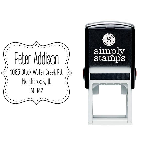 Addison Stitched Border Address Stamp Body and Imprint
