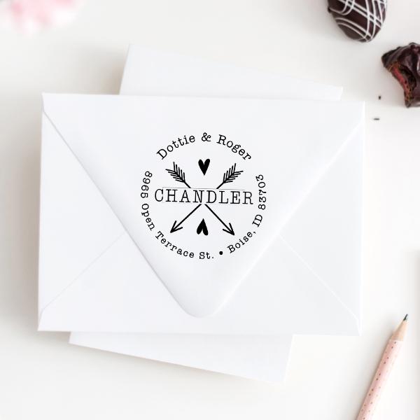 Chandler Arrow Hearts Address Stamp Imprint Example