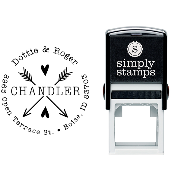Chandler Arrow Hearts Address Stamp Body and Design