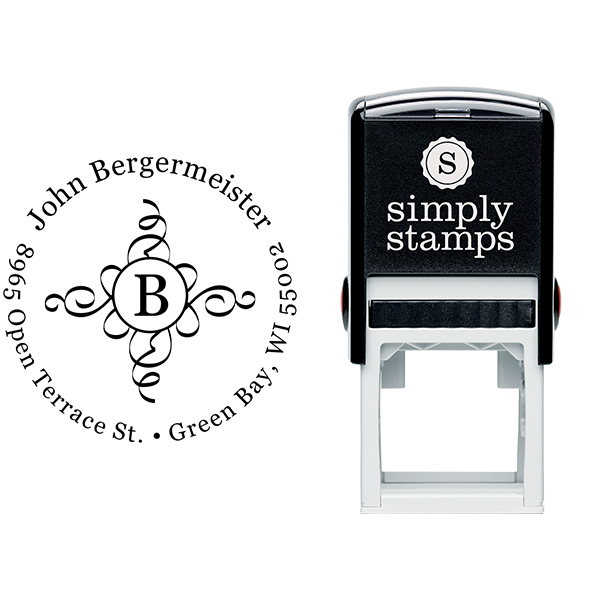 Bergermeister Deco Initial Address Stamp Body and Imprint