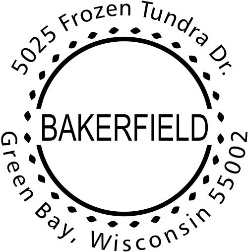 Bakerfield Round Address Stamp