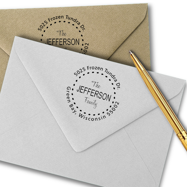 Jefferson Family Deco Border Address Stamp Imprint Examples on Envelopes