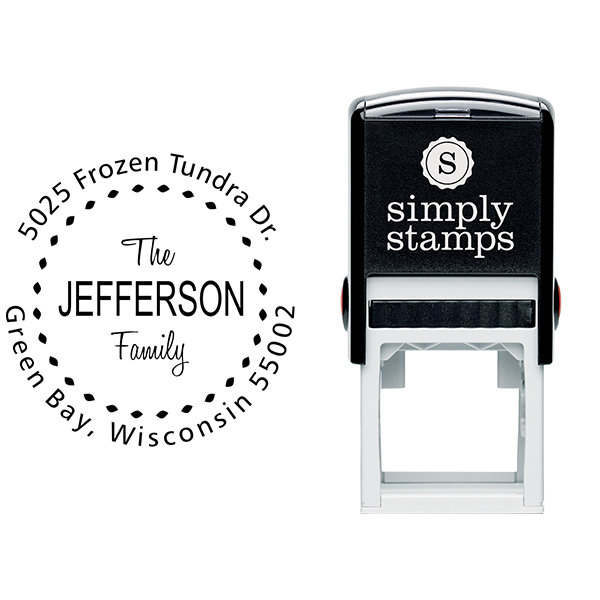 Jefferson Family Deco Border Address Stamp Body and Imprint