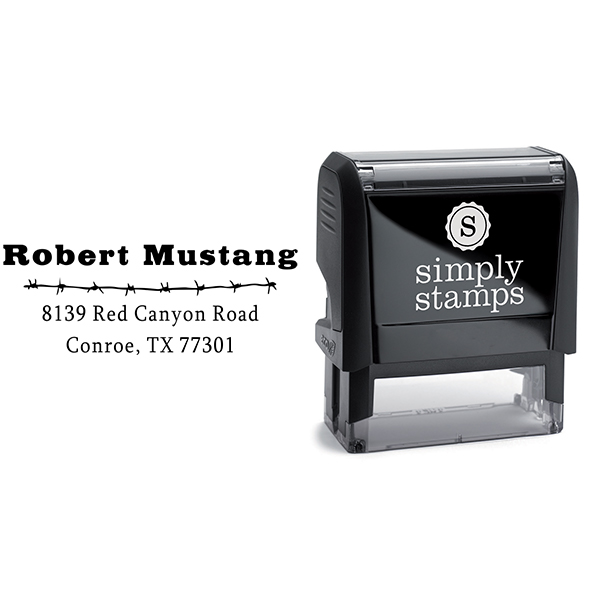 Mustang Barbed Wire Address Stamp Body and Design