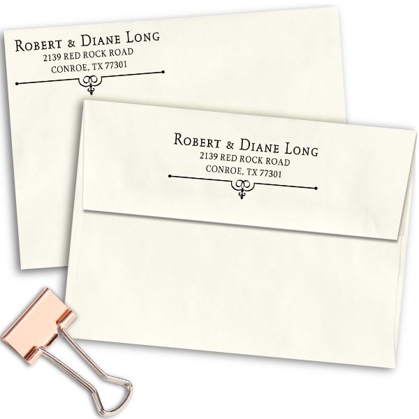 Long Deco Bottom Address Stamp Imprint Example