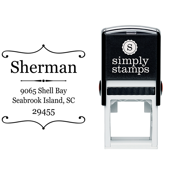 Sherman Square Deco Address Stamp Body and Imprint