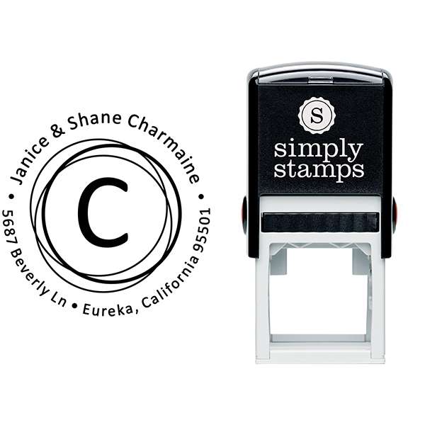 Charmaine Circle Element Address Stamp Body and Imprint