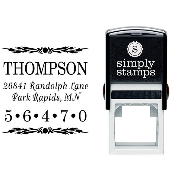 Deco Leaf Zip Code Address Stamp Body and Design