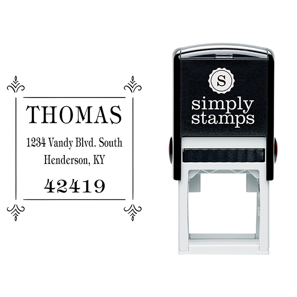 Thomas Four Square Deco Address Stamp Body and Design