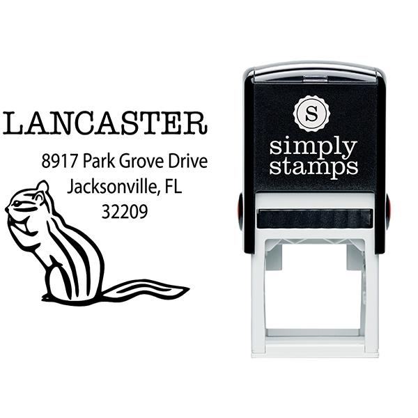 Chipmunk Square Return Address Stamp Body and Design