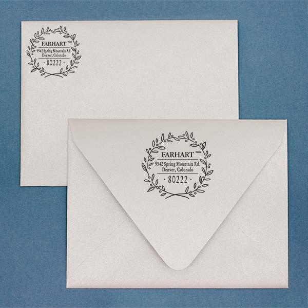 Farhart Wreath Address Stamp Imprint Example