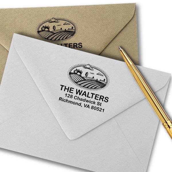 Farm Landscape Return Address Stamp Imprint Example